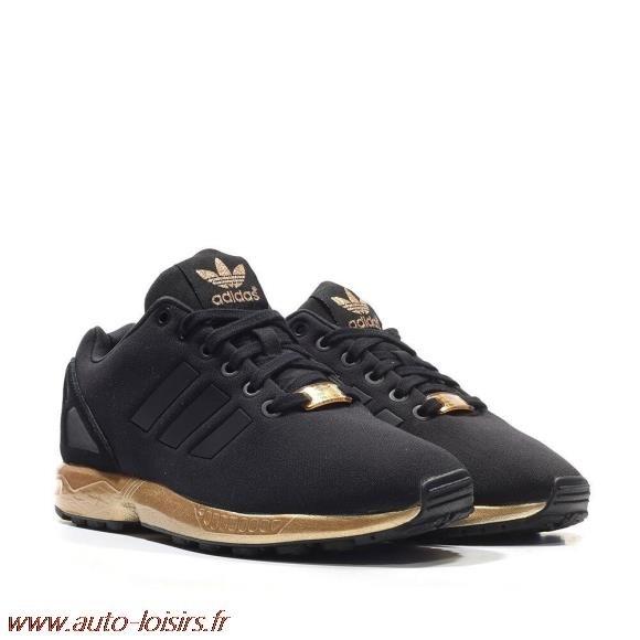 basket adidas zx flux noir et or femme